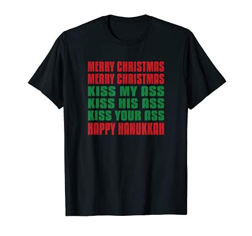 Merry Christmas Kiss My Ass Funny Hanukkah T-Shirt