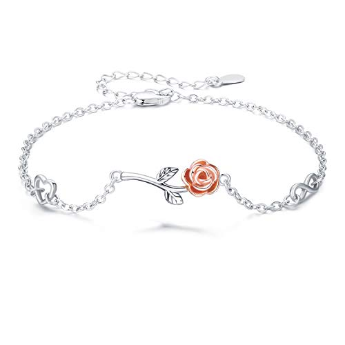 Rose Flower Bracelet 925 Sterling Silver Women Bracelet White Gold-Plated Rose Gold Bracelet Gift for Girlfriend Lover Mom