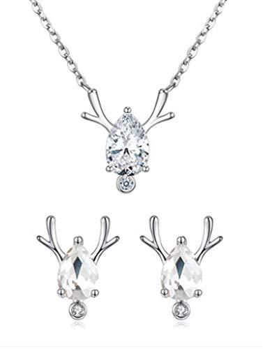 XIRENZHANG 925 Collar de Plata esterlina One Deer Road Tiene Usted Pendientes de Plata esterlina Collar Colgante Colgante Color Oro Cadena de clavícula Juego Silver