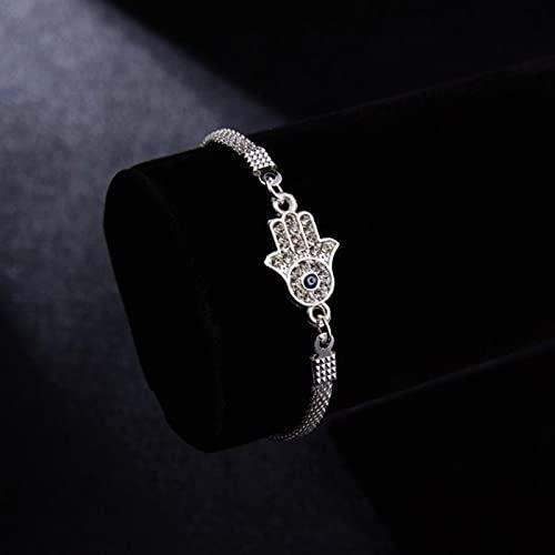TTGE Luxury Silver Plated Charm Bracelets CZ Crystal Blue Evil Eye Bracelet Enamel Turkish Lucky Eye Beads Bracelet for Women Jewelry