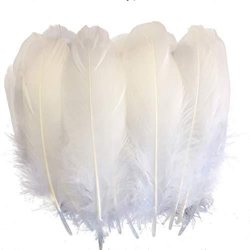 Sowder - Set di 100 piume d'oca naturali, colore: bianco