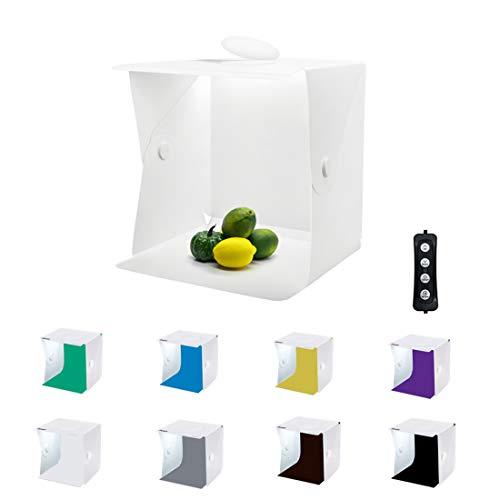 Zoutt Tenda Studio Light Box Fotografico Dimmerabile 40 * 40cm Portatile 3 colori di luce 8 Sfondi (Bianco, nero, giallo, verde, blu, marrone, viola, grigio)