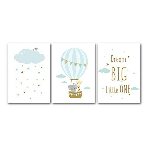 ELMSART Globo aerostático Imagen en Lienzo Estrellas Azules Nube Vivero Imprimir Carta de Dibujos Animados Cartel Jirafa nórdica Elefante Pintura Habitación para niños 40x60cmx3 sin Marco