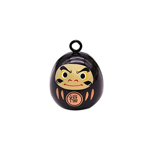 Healifty Japanische Miniatur Daruma Puppe Glocken Anhänger Cartoon Japanische Glücksbringer Glocken Windspiel DIY Rucksack Charme (Schwarz)