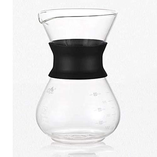 FLU Hand Made Kaffeemaschine, 200 ml / 400 ml verdickte Glas Kaffeekanne mit Griff Espresso Tropf Kaffeekanne Wiederverwendbare Kaffee-Tee-Filter-Tool,200 with Strainer