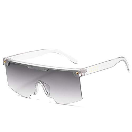 Gafas de Sol Gafas De Sol De Gran Tamaño Vintage con Parte Superior Plana para Mujer Y Hombre, Diseñador De Marca, Gafas De Sol Cuadradas Grandes, Lentes De Una Pieza con Gradiente Grande C7