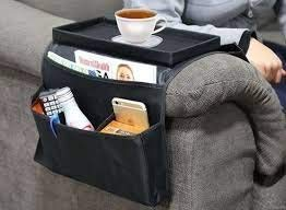 MG SALESS Sofa Armrest Storage Organizer with 6 Pockets Chair Non-Slip Armchair Caddy for Recliner Remote Holder, TV Control, Cell Phone with Trays for Tea Coffee Mugs