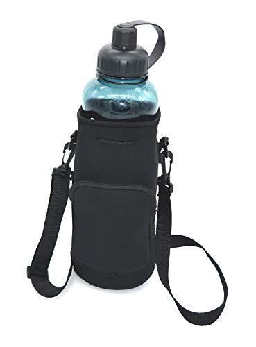 【 Ambertech 】 無地 大容量 2L対応 ボトルポーチ ケース 水筒カバー ベルト付き 携帯大便利 登山 キャンプ アウトドア 旅行用品 釣り スポーツ アウトドア 景品 内祝い 5番目(ブラック)