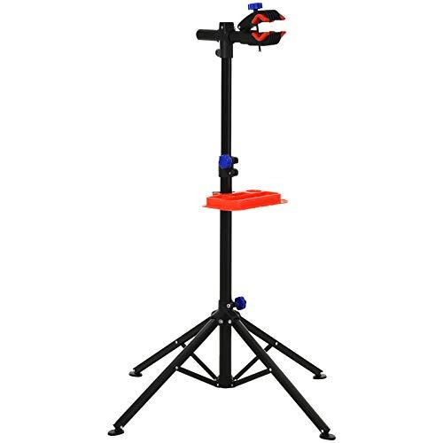 HOMCOM Cavalletto per Manutenzione Bicicletta con Telaio 4-8cm, Altezza Regolabile Morsetto 360° e Vassoio Portautensili