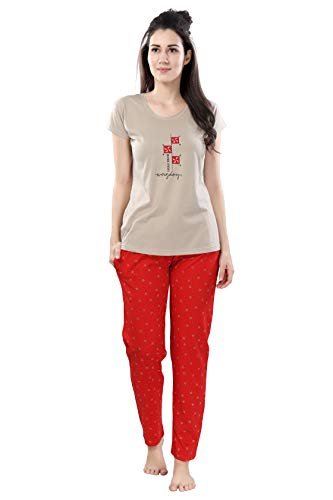 DZZO Women's Printed Cotton Cream Night Suit Set/Pyjama Set/Sleepwear/Nightwear/Nightdress/Loungewear (X-Large)...
