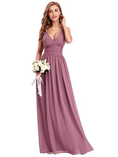 Ever-Pretty Vestito da Cerimonia Donna Linea ad A Stile Impero Chiffon Scollo a V Senza Maniche Abito da Damigella Orchidea 36EU