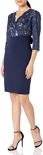 Alex Evenings Women s Cocktail Dress with Tie Waist Navy Nude 10 product image