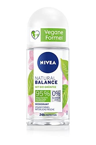 NIVEA Natural Balance Bio Grüntee Deo Roll-On (50ml), Deo mit Bio Grüntee und 0 Prozent Aluminium (ACH), Deodorant für natürliche Frische und zuverlässigen Schutz