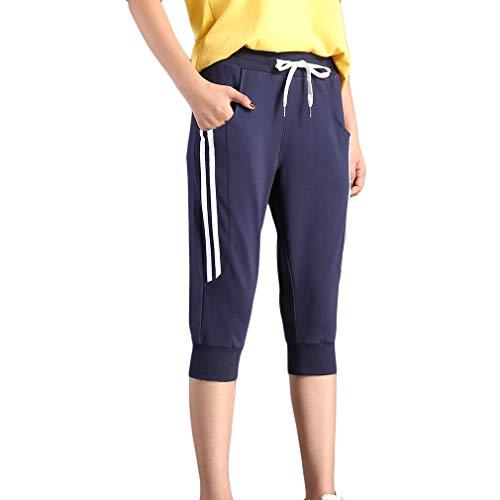 KDi Women's Shorts Jogger Sweatpants Running Trousers Tracksuit Capri Pants (S, 1# Navy Blue)