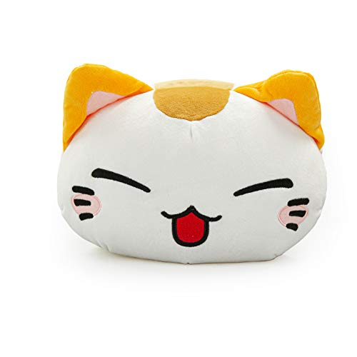 Funnylens Weiss grau Nemu Neko Nemo Kuscheltier Katze Manga Anime Otaku Kawaii Stofftier Plüschtier Plush Cat Merchandise zum Kuscheln Original aus Japan Höhe 25cm und Breite 34cm