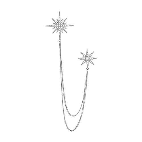 ffshop Broche de Vestir Broche de los Hombres Estrella Hexagonal con Cadena Broche Collar Pines Pin de Solapa, atacador de Traje para Mujer Accesorios para Hombres Broche Elegante (Color : A)
