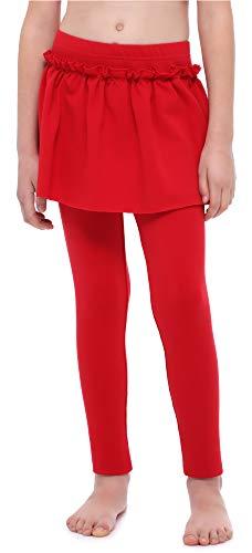 Merry Style Leggings Lunghi con Gonnellino Bambina e Ragazza MS10-255 (Rosso, 146 cm)