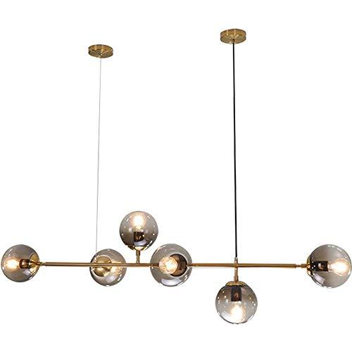 Moderne hanglamp in goudkleurig design kroonluchter van glas grijs lampenkap woonkamer eettafel keuken binnenverlichting lamp decoratie E27 * 6 120 * 4