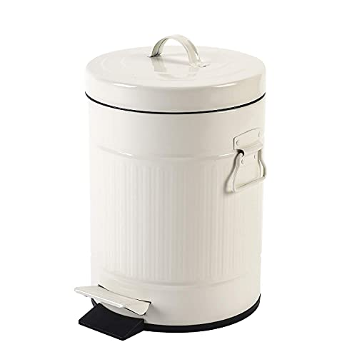 Bathroom Trash Can with Lid, Small White Waste Basket for Home Bedroom, Retro Step Garbage Can with Soft Close, Vintage Office Trash Can, 5 Liter/ 1.3 Gallon, Glossy White