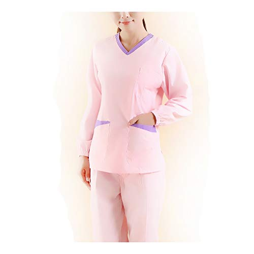 CX ECO Medizinische Uniformen Unisex V-Ausschnitt Langarm Top Peelings Set Medizinische Pflege Workwear Multi-Tasche Anti-Falten-Klassiker Zahnarzt Uniform,XXL