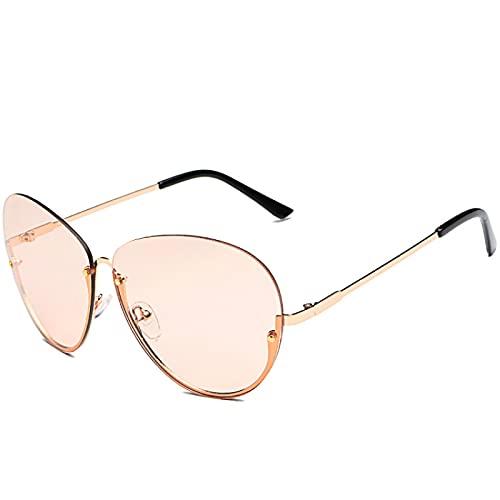 ShZyywrl Gafas De Sol De Moda Unisex Gafas De Sol De Piloto Sin Montura para Mujer, Gafas De Sol De Moda para Mujer, Gafas De Sol Clásicas De Aleación Vintage,