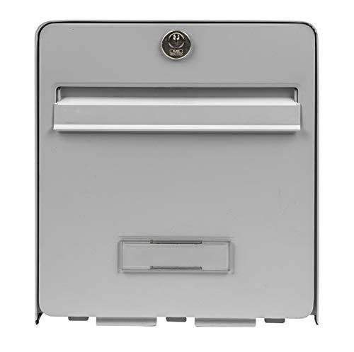 Burg-WÄCHTER Briefkasten, Normalisiert, aus verzinktem Stahl, mit vollständiger Öffnung, Briefstopp (Tür blockiert 120 °), 2 Türen, Bravor, grau