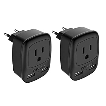 European Plug Adapter 2 Pack TESSAN USA to Most of Europe Travel Power Plug Adapter with 2 USB Charging Ports 3 in 1 Type C Europlug US to EU Italy Spain Greece Outlet Adaptor