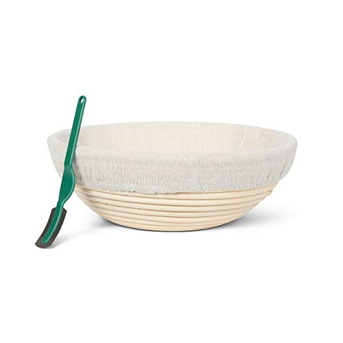 Premium Round Banneton Bread Proofing Basket – Professional Bread Proofing Basket for Baking Beautiful Round Bread, Dough Scraper, Linen Liner Cloth, Home Bakers, Home and Professional (9-inch)