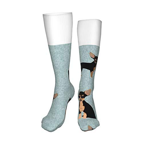Chihuahua calcetines negros y bronceados para mascotas para hombres y mujeres, calcetines para botas de 50 cm para correr, deportes, al aire libre