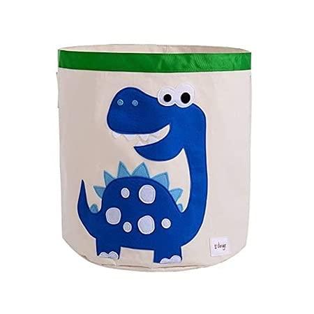 LY-Rack - Cestino per la spesa, pieghevole, in tela, impermeabile, con manico (volpe arancione) (colore dinosaure blu)