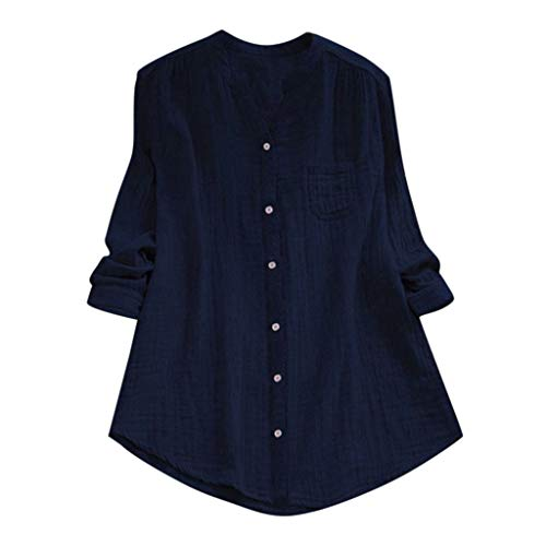 Topkal – Camiseta de mujer para verano, elegante, con cuello alto, manga larga, informal, túnica para primavera, Causal Tops Moda 2019 marine M