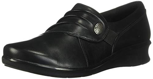 Clarks Women's Hope Roxanne Loafer, Black Leather, 7.5 M US