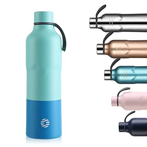 FEIJIAN FJbottle Edelstahl Trinkflasche Thermosflasche doppelwandige Vakuum Isolierte Wasserflasche 600ml BPA-frei auslaufsichere Sportflasche für Sport Outdoor Camping Fahrrad Fitness Yoga Schule