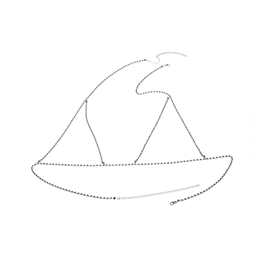 MGZQ Cadena de cuerpo de plata collar de aleación vintage pecho cadena clavícula cuerpo accesorios