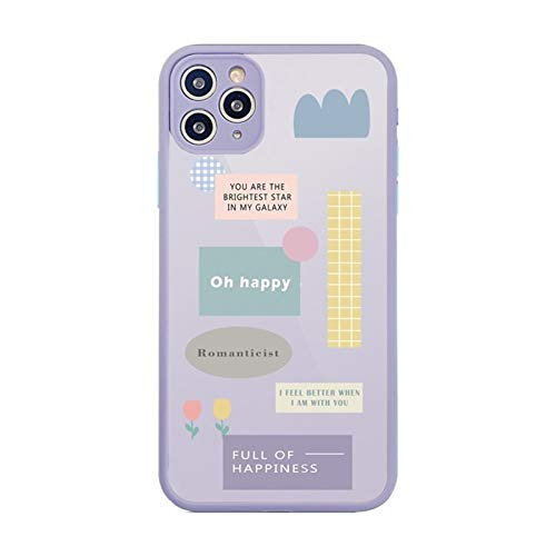 YLFC Funda De Teléfono Transparente Coreana para iPhone, Funda De PC Dura con Etiqueta Geométrica para iPhone 11 Pro MAX X XS MAX XR 7 8 Puls SE 2020 (Color : A, Size : For iPhone XS(5.5))