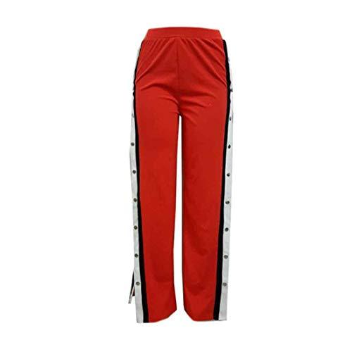 Inlefen De las Mujeres Cintura Alta Pantalones Pierna Ancha Pantalones Ocio Botón Apertura Lateral Pantalones