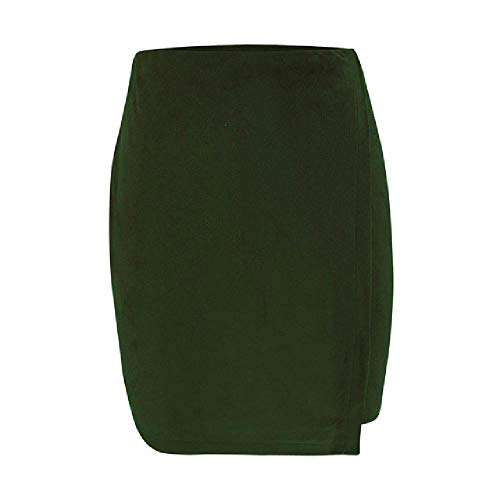 Nobrand Damenrock, hohe Taille, unregelmäßig, einfarbig, kurz, modisch, Büro, Damen, Bleistift, Mini-Röcke Gr. 44, grün