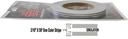 "Universal TFX 00033064 - Auto Customizing Dual Pinstripe - 3/16' x 50' (1/16"" Stripe, 1/16' Gap, Then 1/16"" Stripe) - 064-Silver Metallic"