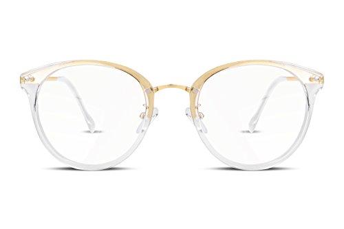 FEISEDY Retro ohne Sehstärke Runder Brille Damen Herren Metallrahmen Transparente Linse Gefälschte Gläser B2260