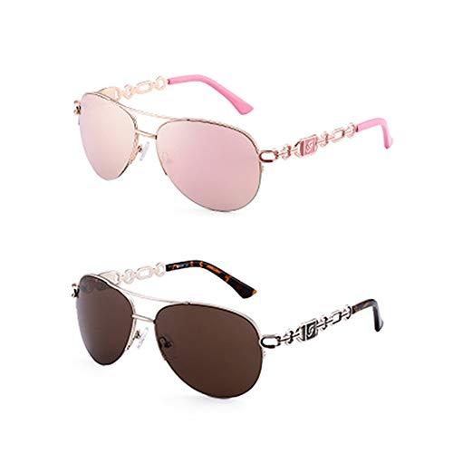 WPHH Gafas De Sol con Montura De PC para Mujer Gafas De Sol Polarizadas Gafas De Color De Moda UV 400,Pink and Brown