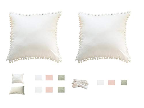 Kopfkissenbezug Kissenbezüge mit Bommel Bommeln Pompon Weiße 45 x 45 cm 2 Stück (18x18 inches) Dekorative