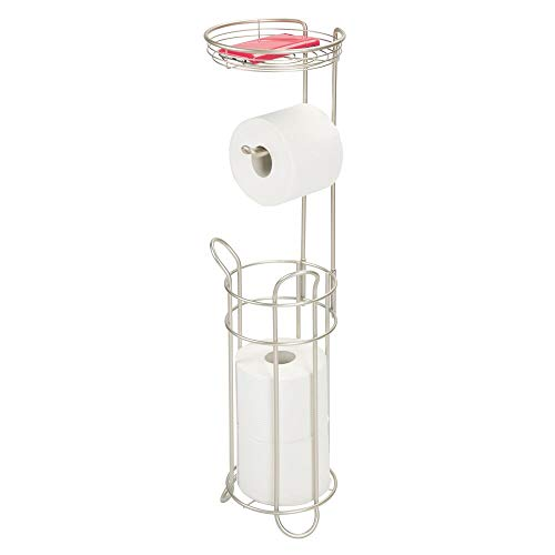 mDesign Toilettenpapierhalter ohne Bohren – Klorollenhalter fürs Badezimmer – Papierrollenhalter für vier Rollen mit Ablage – mattsilberfarben