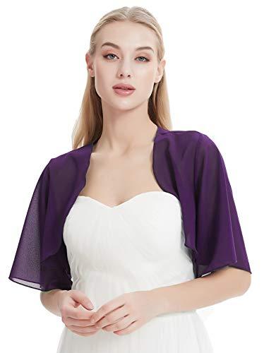 Chiffon Bolero for Evening Dresses Women's Chiffon Shrug Bolero Cardigan Wide Sleeve V66 (Purple, XL)