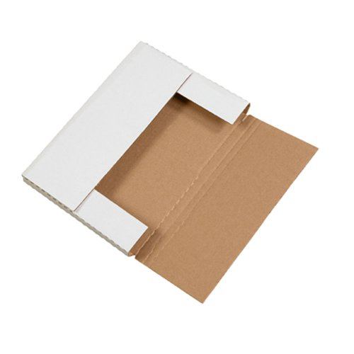 Aviditi White Easy-Fold Mailing Boxes, 12 1/8' x 9 1/8' x 1', Pack of 50, Crush-Proof, For Shipping, Mailing and Storing