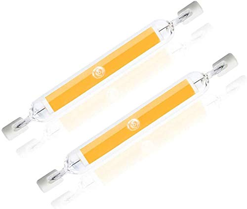 HUAJIE Bombilla LED R7S De 10W Bombillas LED De Doble Extremo Regulable De 78Mm 230V Foco Tipo J R7S 100W Bombilla Halógena De Repuesto Luces De Paisaje Natural, 2 Pack,Warm White