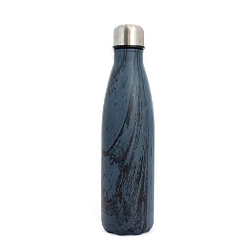 PAIDE P Botella de Agua en Acero Inoxidable.Sin BPA Doble pared Térmica Aislante, Bebidas Frías y Calientes, té, café. Ideal para Deporte, Oficina. Antigoteo. 500 ML.(Madera azul)
