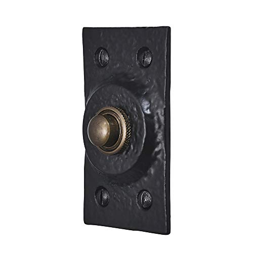 A. Perry 4362-0080BA 80mm x 45mm Old Hill Ironworks Rechthoekige deurbel Duwen, Zwart Antiek