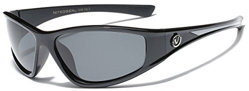 Polarized Fishing Driving Wrap Around Sport Sunglasses - Black & Gray