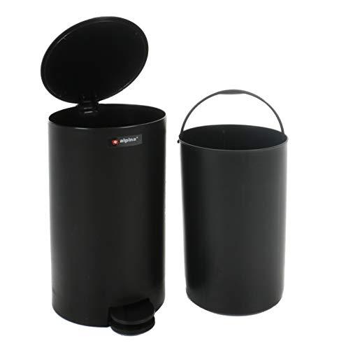 Kosmetikeimer für Badezimmer mit Klappdeckel aus Kunststoff, herausnehmbarer Einsatz, Treteimer für Küche und Bad, Volumen ca. 3 L, Tretmülleimer weiß oder schwarz (Schwarz)