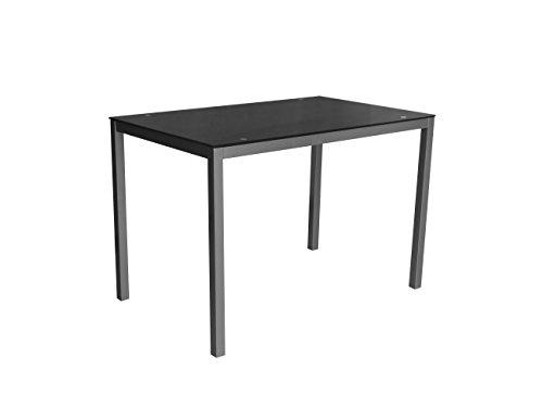 Mirror 110 negra Mesa metalica y cristal negro para comedor, cocina, balcon, terraza interior, habitacion juvenil
